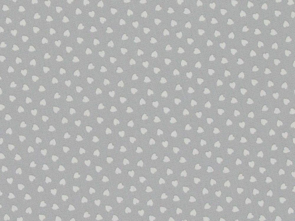 Mini Love Hearts Cotton Poplin Print, Grey