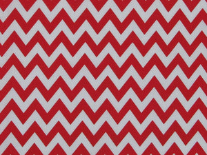 Chevron Polycotton Print, Red