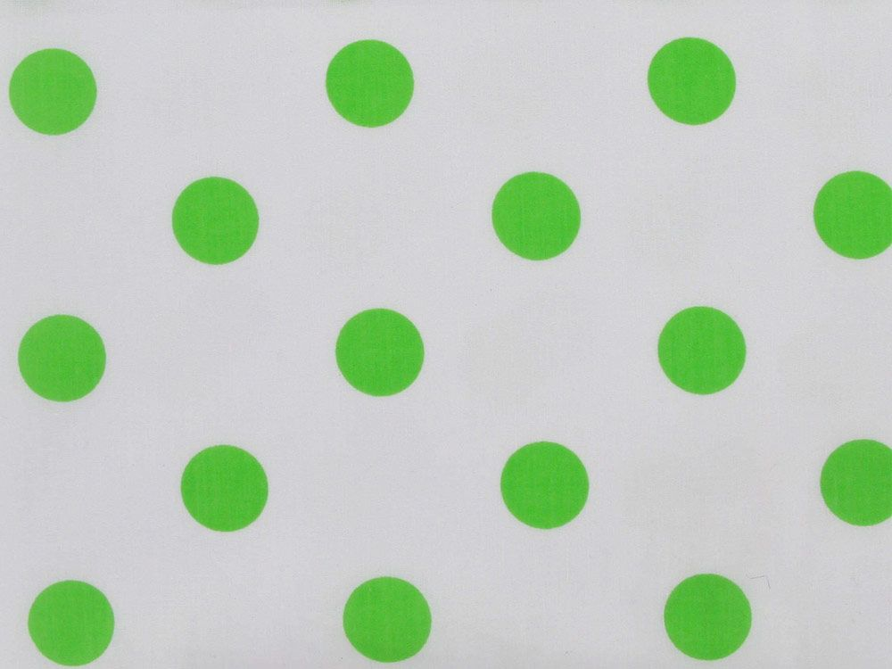Large Green Polka Dot on White Background Polycotton Print