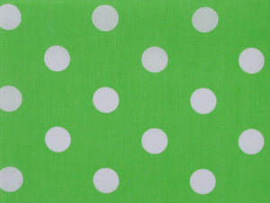 Large White Polka Dot on Green Background Polycotton Print