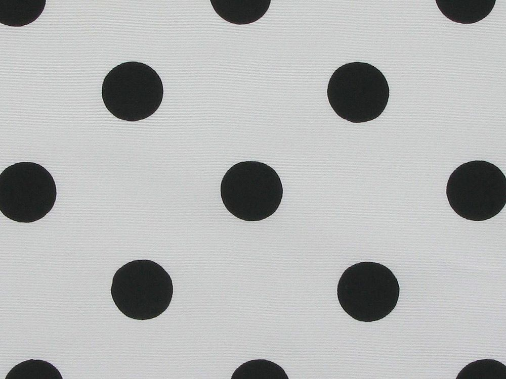 Polka Dot Grosgrain Taffeta, Black on White Background