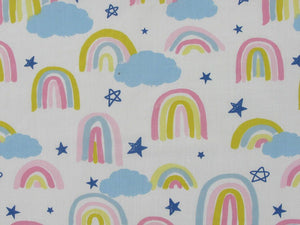 Painted Rainbow Star Polycotton Print, Pastel on White