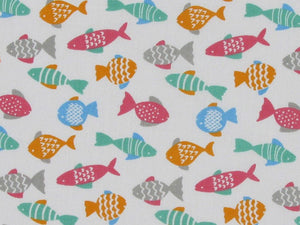 Fish Flash Polycotton Print, White