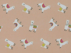 Llama Party Polycotton, Blossom
