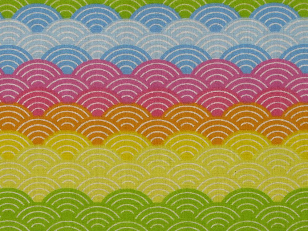 Rainbow Wave Polycotton Print, Bright