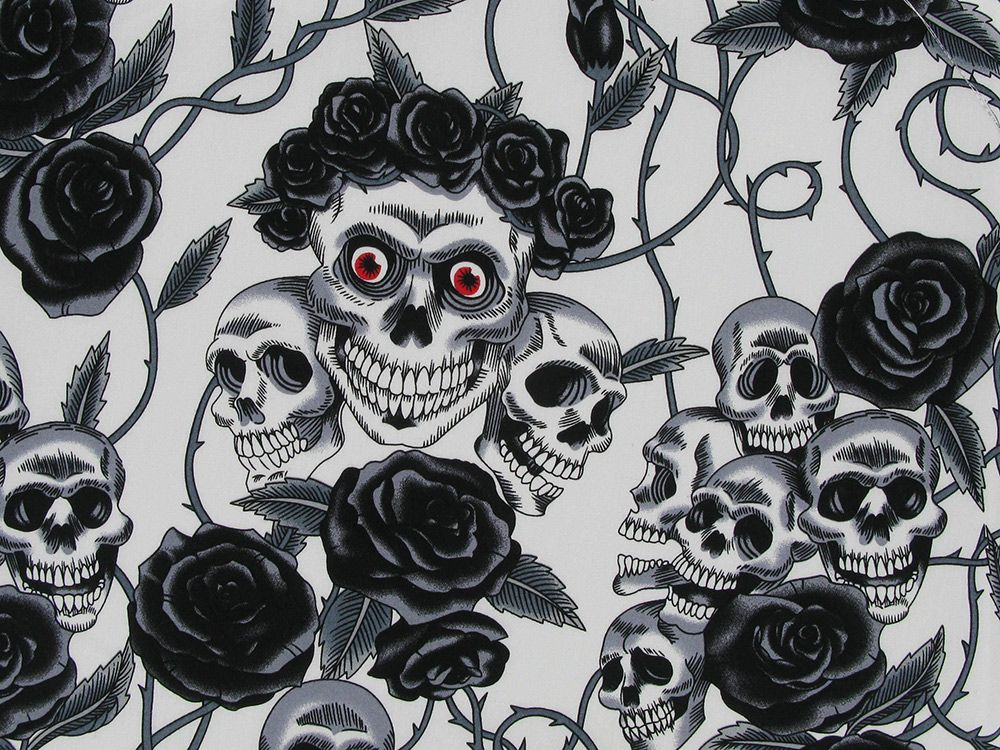 Rose Crown Skull Cotton Poplin, Black And White