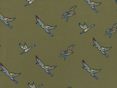 Birds in Flight Stretch Polyester Print, Sand