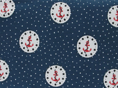 Sailors Anchor Cotton Jersey, Navy