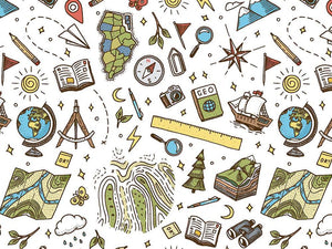School Days Doodle Cotton Print, Geography