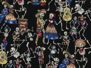 Skeleton Fiesta Cotton Poplin Print