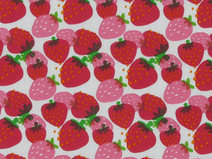 Strawberry Surprise Polycotton Print, Cream