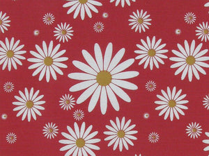 Summer Daisy Polycotton Print, Red