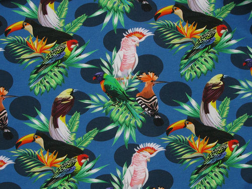Tropical Bird Spot Cotton Jersey