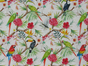Tropical Birds Cotton Print, White