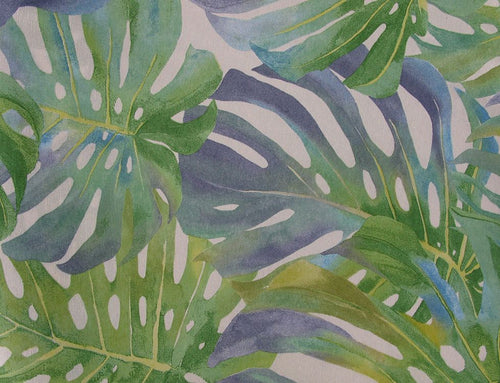 Tropical Leaves Cotton Rich Panama Canvas, Spring