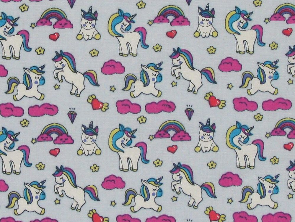 Unicorn Rainbow Hearts Cotton Print, Light Blue