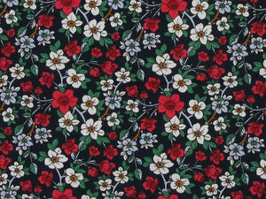 Valley Walk Flora Cotton Poplin Print, Navy