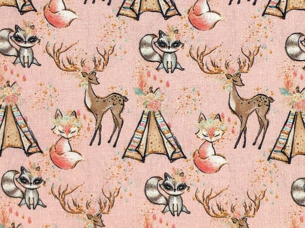 Animal Chic Cotton Print, Campout, Pink