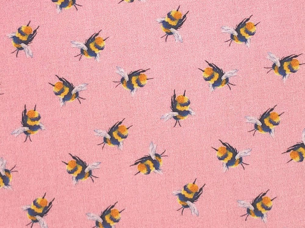 Craft Collection Cotton Print, Bumble Bee, Candy Pink