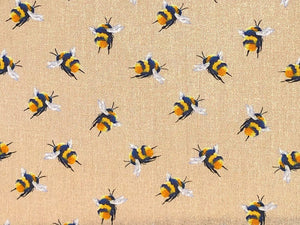 Craft Collection Cotton Print, Bumble Bee, Beige
