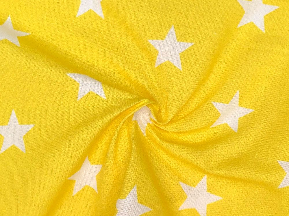 Craft Collection Cotton Print, Large Star, Yellow
