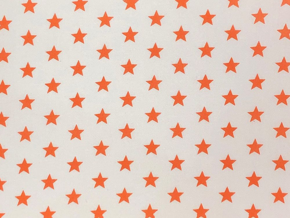 Craft Collection Cotton Print, Small Coloured Star, Orange