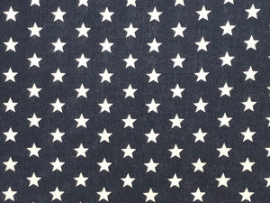 Craft Collection Cotton Print, Small White Star, Navy