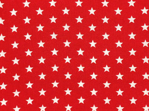Craft Collection Cotton Print, Small White Star, Red