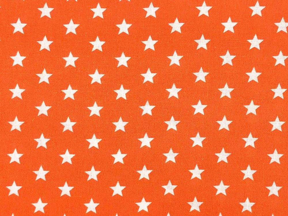 Craft Collection Cotton Print, Small White Star, Orange