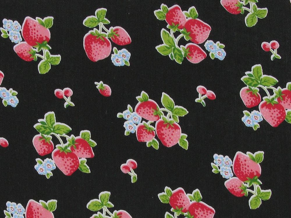 Summer Strawberry Polycotton Print, Black