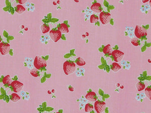 Summer Strawberry Polycotton Print, Pink