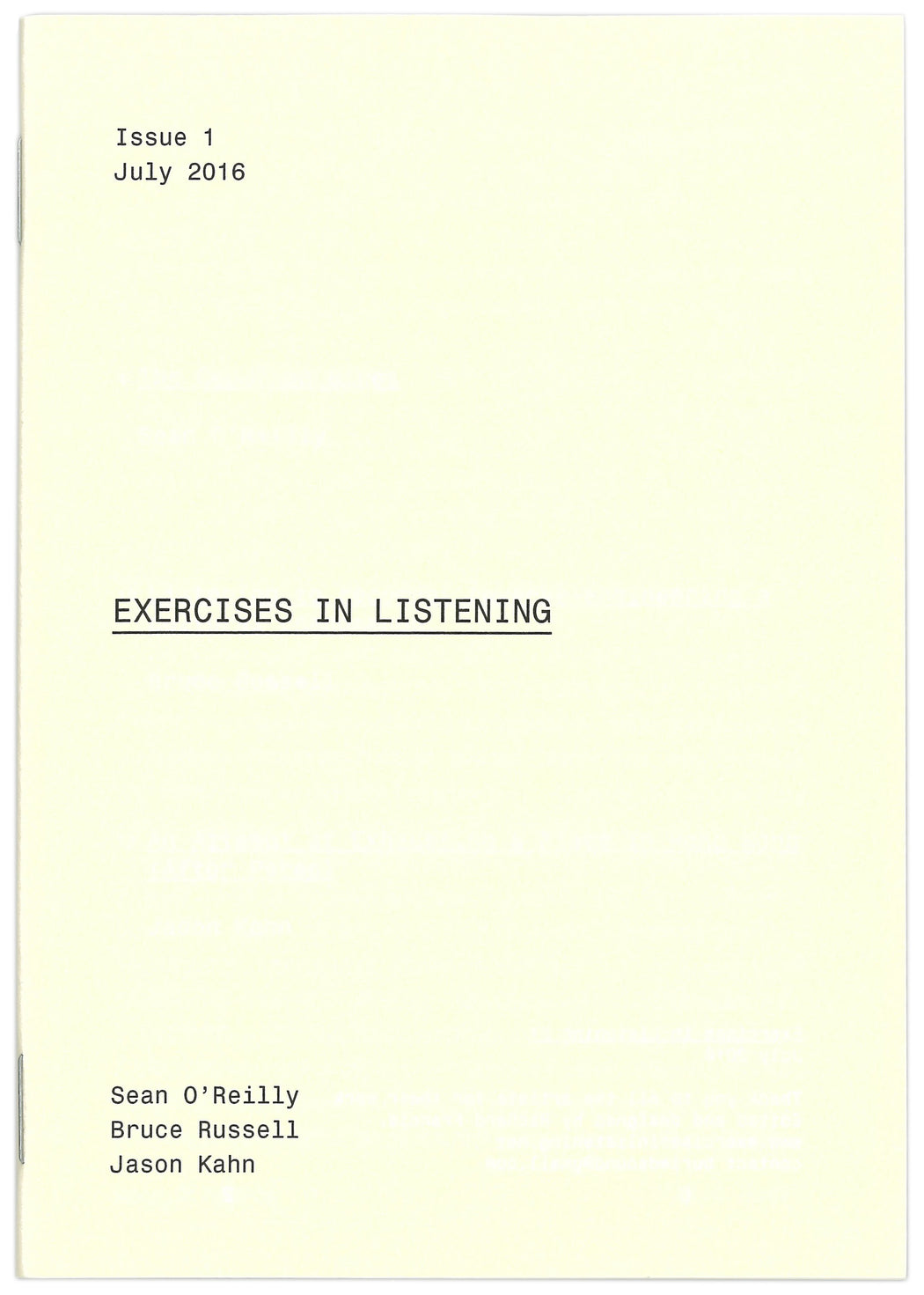 Exercises In Listening #1 - Strange Goods