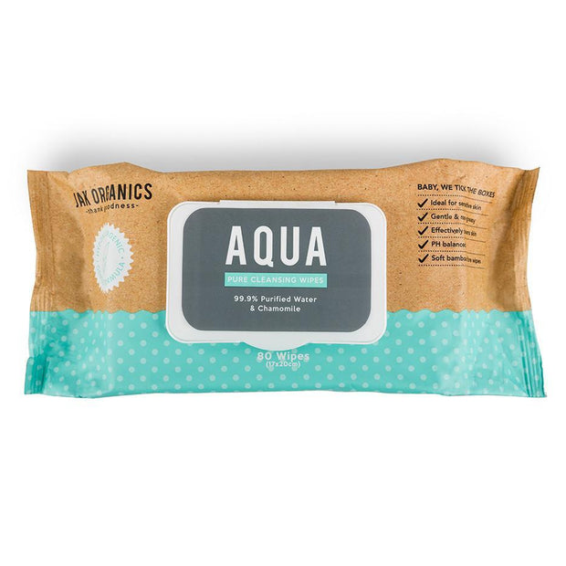 AQUA Multi-Purpose Wipes - 99.9% Purified Water (80 Wipes), Jak Organics, Baby Wipe