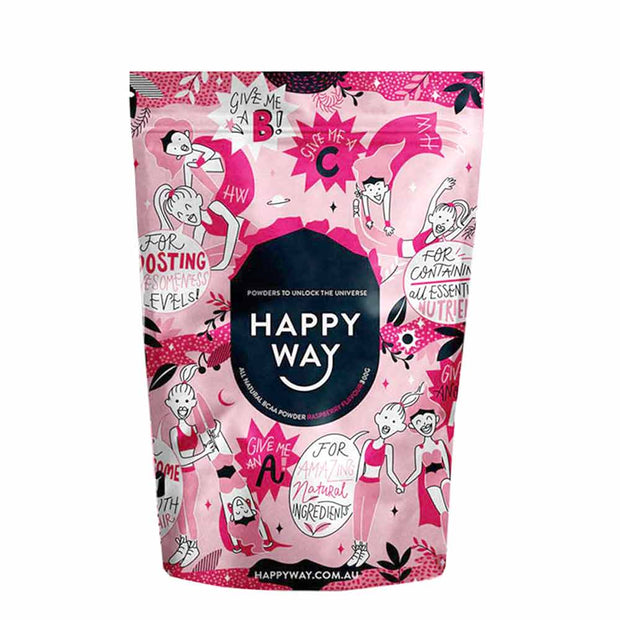 BCAA Powder Vegan - Raspberry Flavour 300g, Happy Way, Amino Acid