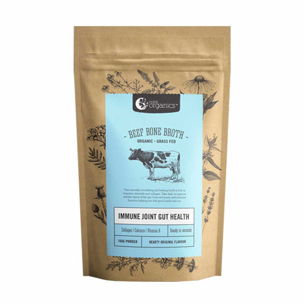 Beef Bone Broth Hearty Original 100g, Nutra Organics, Broth