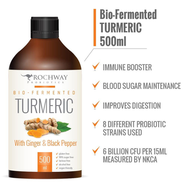 Bio-Fermented Turmeric with Ginger 500mL, Rochway, Probiotic