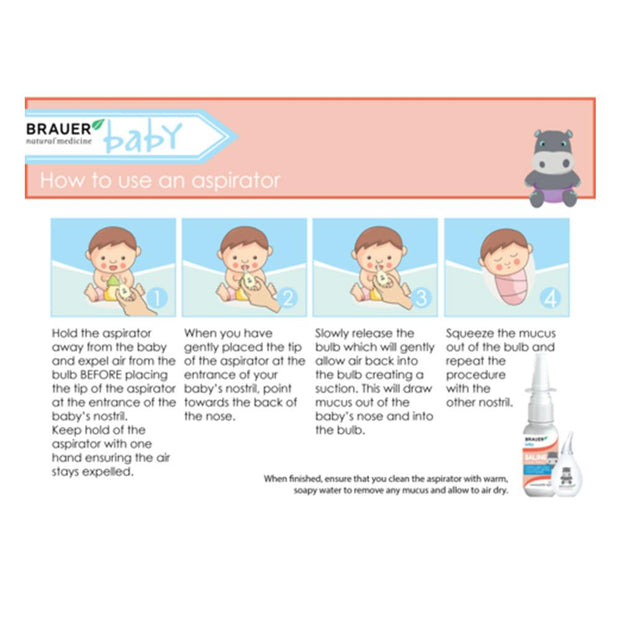 Brauer Baby Saline Nasal Spray with Aspirator, Brauer, Baby Nasal Spray