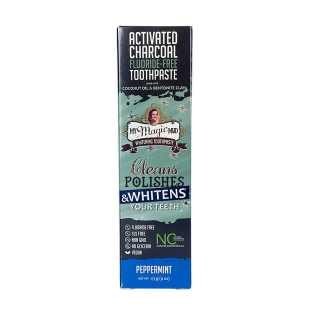 Charcoal Teeth Whitening Toothpaste 113g - Peppermint, My Magic Mud, Toothpaste