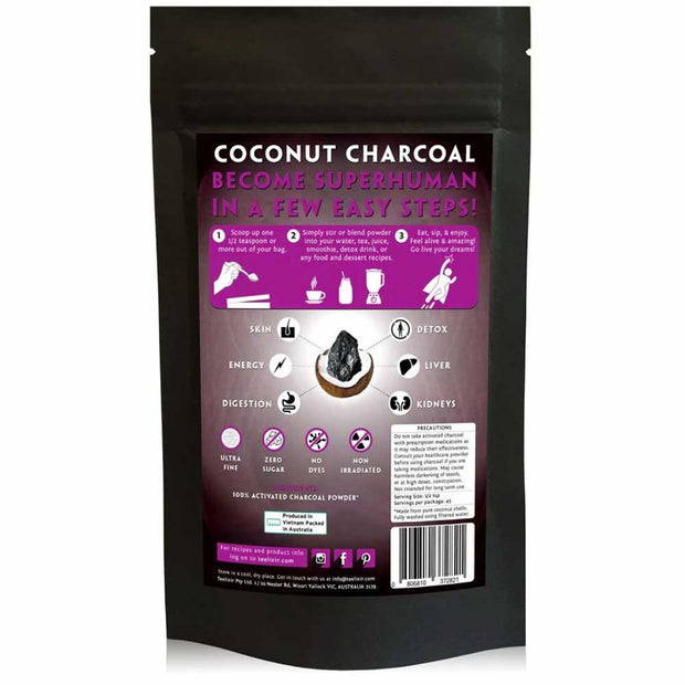 Coconut Charcoal (Activated) Powder 80g, Teelixir, Activated Charcoal