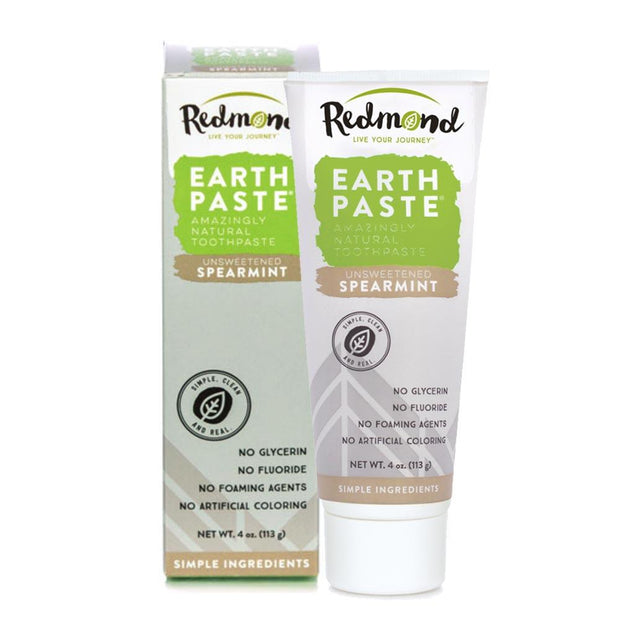 Earthpaste - Unsweetened Spearmint, Redmond Earthpaste, Toothpaste