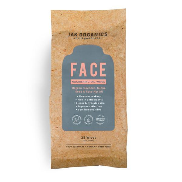 FACE Wipes - Coconut Oil, Rose Hip Oil & Jojoba Seed Oil (25 Wipes), Jak Organics, Face Wipe