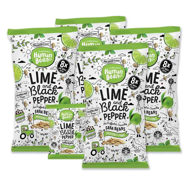 Lime & Black Pepper Multi Pack Multi 8 x 20g Packs, Human Bean Co, Chips
