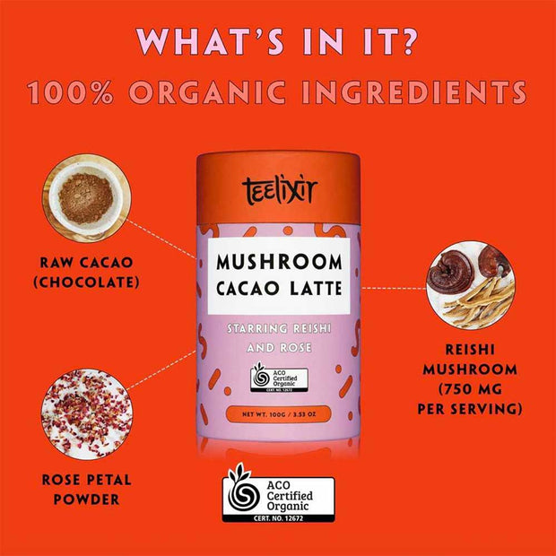 Mushroom Cacao Latte with Reishi 100g, Teelixir, Tonic Blends