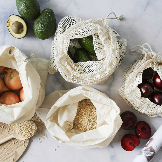 Organic Cotton Mixed Set Produce Bags 4 Pack, Ever Eco, Reusable Bags