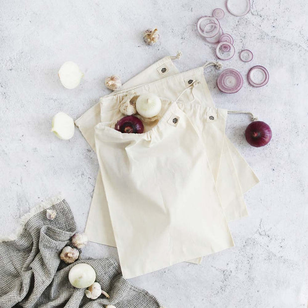 Organic Cotton Muslin Produce Bags 4 Pack, Ever Eco, Reusable Bags
