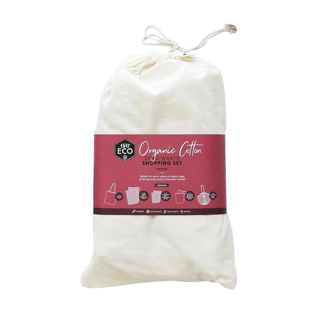 Organic Cotton Zero Waste Shopping Set, Ever Eco, Reusable Bags