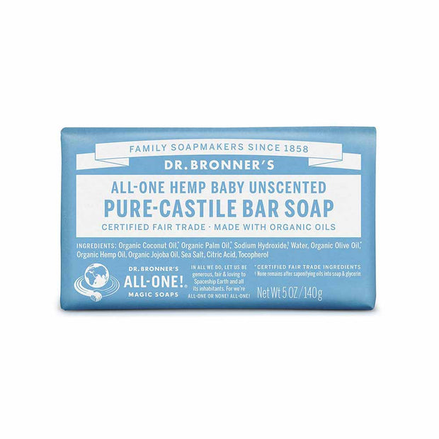 Pure-Castile Bar Soap - Baby Unscented 140g, Dr Bronner's, Soap Bar