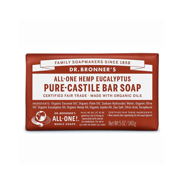 Pure-Castile Bar Soap - Eucalyptus 140g, Dr Bronner's, Soap Bar