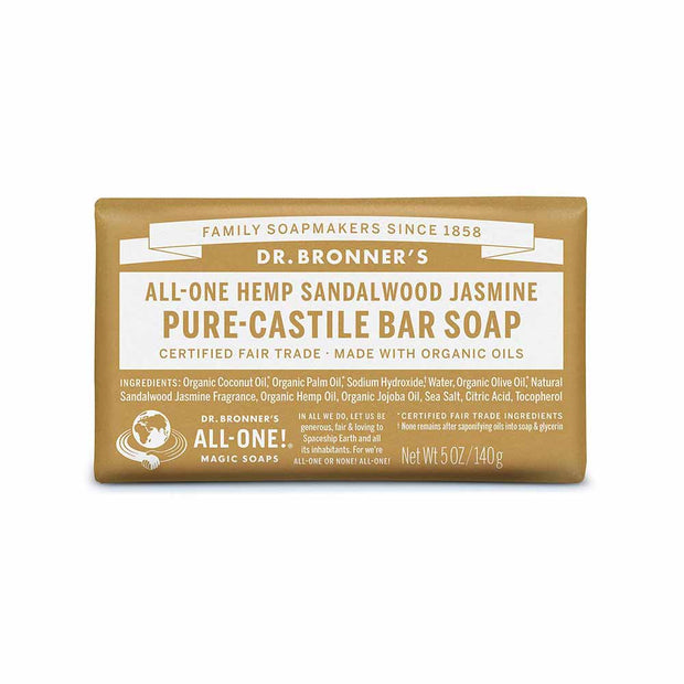 Pure-Castile Bar Soap - Sandalwood Jasmine 140g, Dr Bronner's, Soap Bar