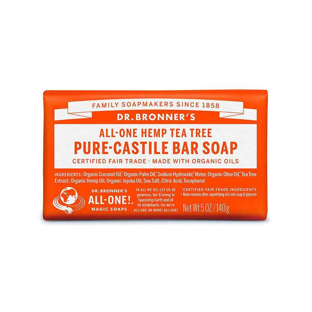 Pure-Castile Bar Soap - Tea Tree 140g, Dr Bronner's, Soap Bar